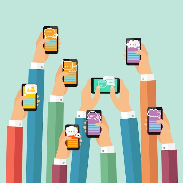 Mobiele chatillustratie Gratis Vector