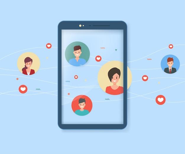 Mobiele communicatie mensen en sociale media. Premium Vector