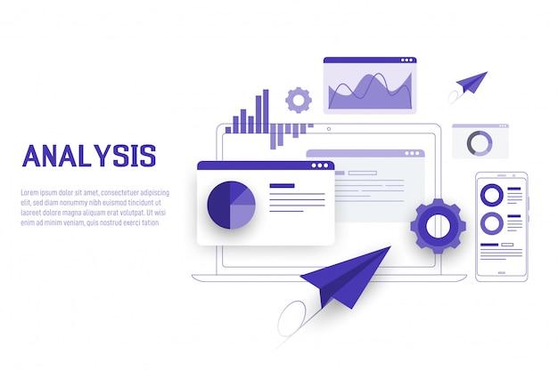 Mobiele data-analyse, onderzoek, planning en statistieken Premium Vector