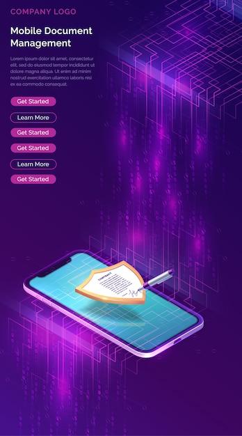 Mobiele documentmanager of e-handtekening websitesjabloon Gratis Vector
