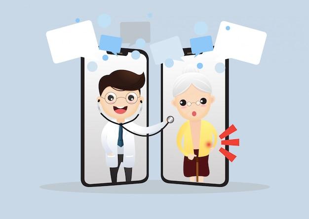 Mobiele dokter. glimlachende arts op het telefoonscherm. Premium Vector