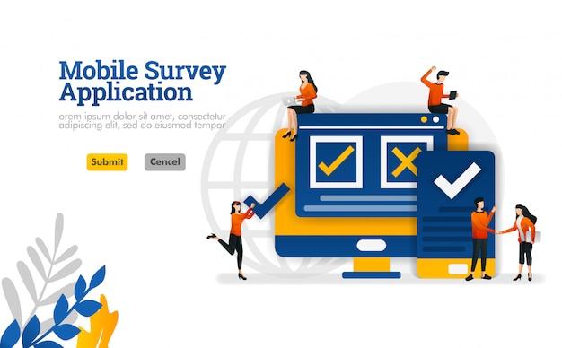 Mobiele enquêtetoepassing om te kiezen om het eens en oneens te zijn over de enquête vectorillustratie Premium Vector