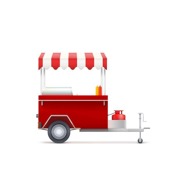 Mobiele fast-food winkel, geïsoleerd op een witte achtergrond. Premium Vector