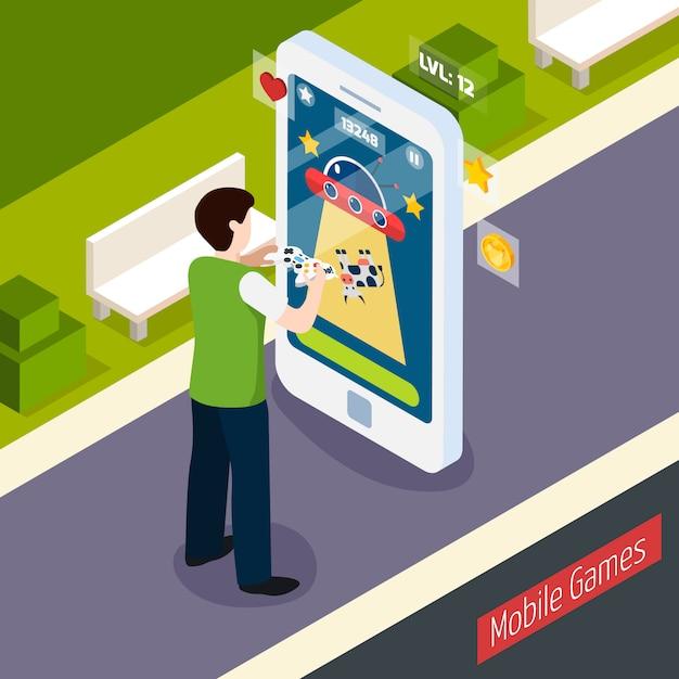 Mobiele games isometrische samenstelling Gratis Vector