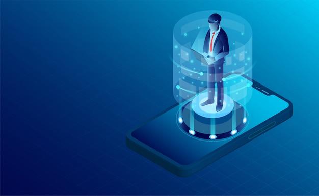 Mobiele gebruikersbanner Premium Vector