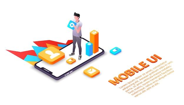 Mobiele gebruikersinterface-illustratie van smartphone-gebruikersinterface of ux-toepassingen op het display. Gratis Vector