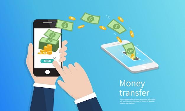 Mobiele geldoverdracht. Premium Vector