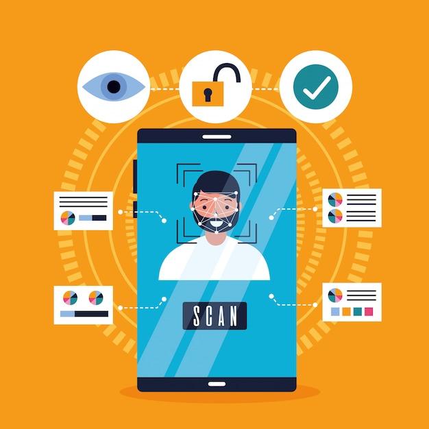 Mobiele gezichtsscan Gratis Vector