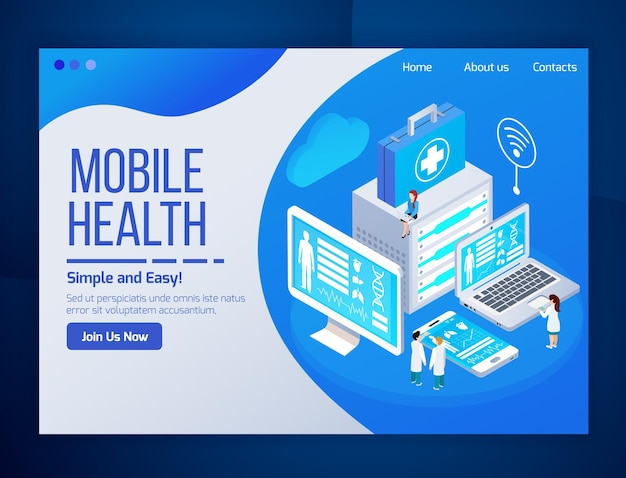 Mobiele gezondheidszorg telegeneeskunde gloed isometrische webpagina met medische tests laptop tablet telefoon schermen Gratis Vector