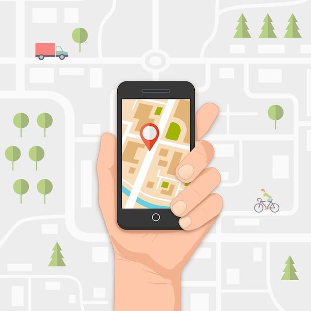 Mobiele gps-navigatie op mobiele telefoon met kaart en pin vectorillustratie Gratis Vector