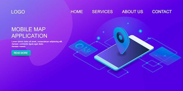 Mobiele kaart Premium Vector
