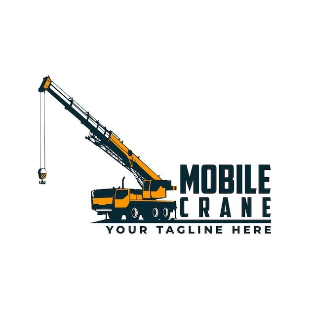 Mobiele kraan logo Premium Vector