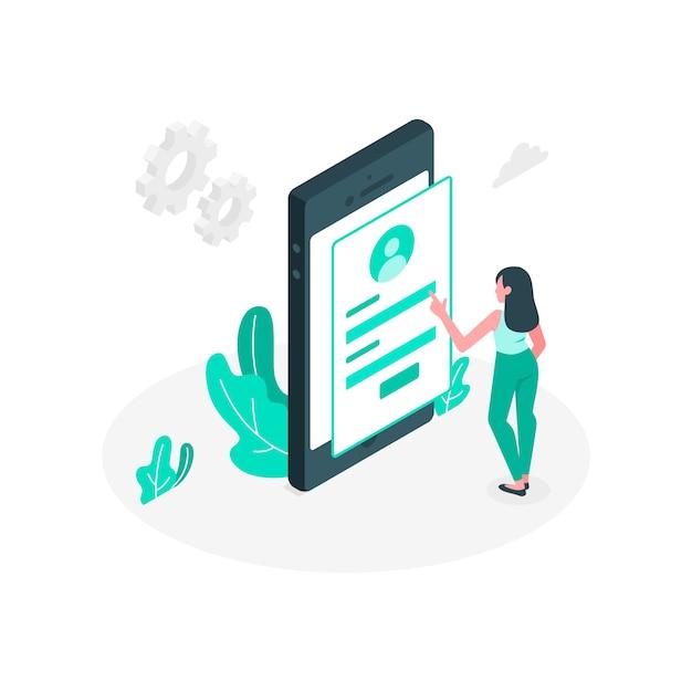 Mobiele login concept illustratie Gratis Vector