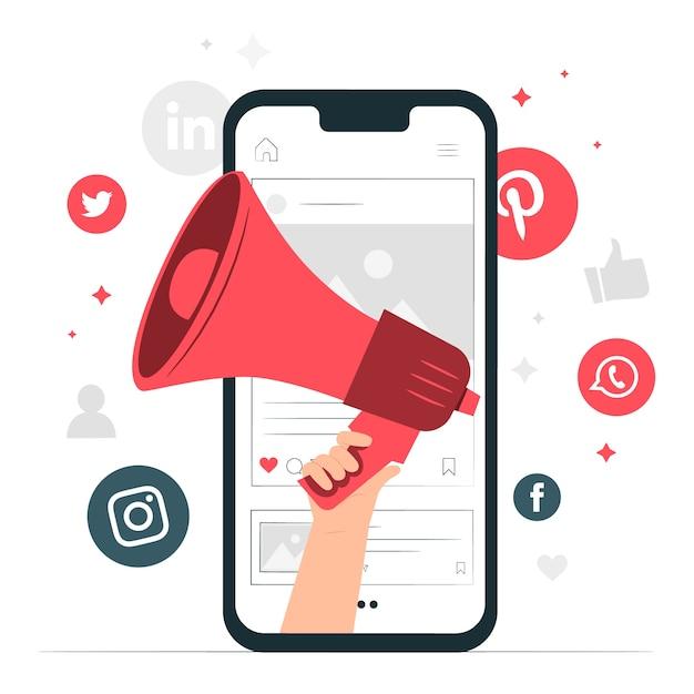 Mobiele marketing concept illustratie Gratis Vector