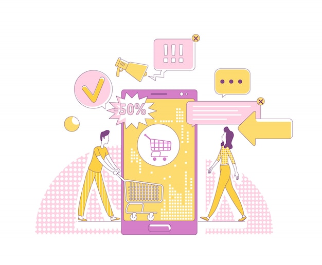 Mobiele marketing dunne lijn concept illustratie. klanten stripfiguren voor web. internetreclamezaken, online winkeltechnologie, creatief idee voor verkooppromotie Premium Vector