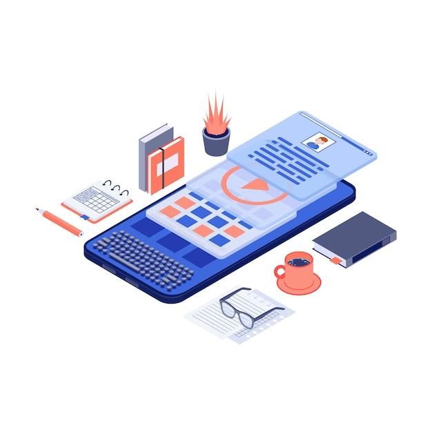 Mobiele marketinginhoud & copywriting isometrische vectorillustratie Premium Vector