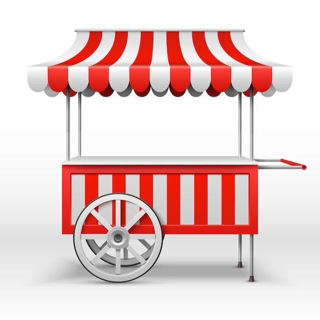 Mobiele marktkraam met wielen. Premium Vector