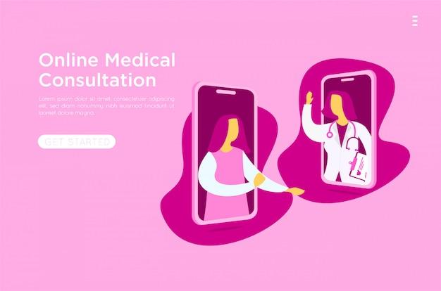 Mobiele medische online vlakke afbeelding Premium Vector