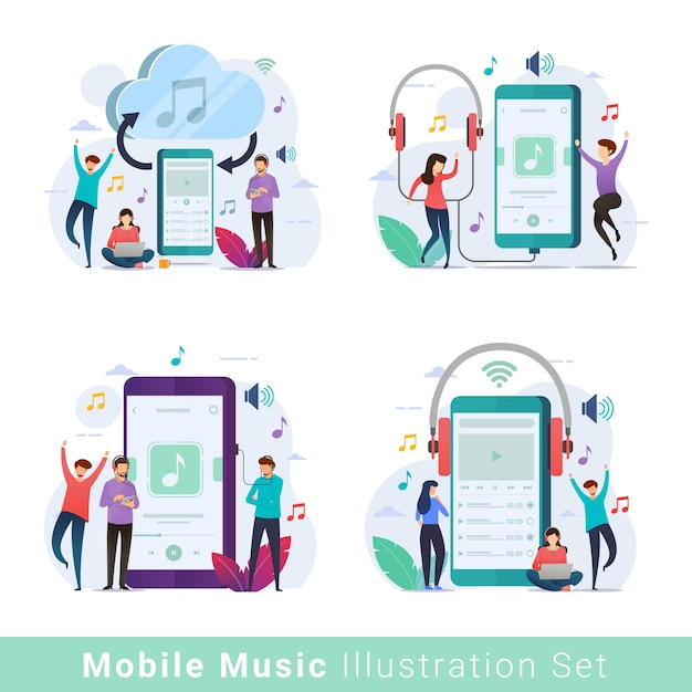 Mobiele muziekspeler illustratie set Premium Vector