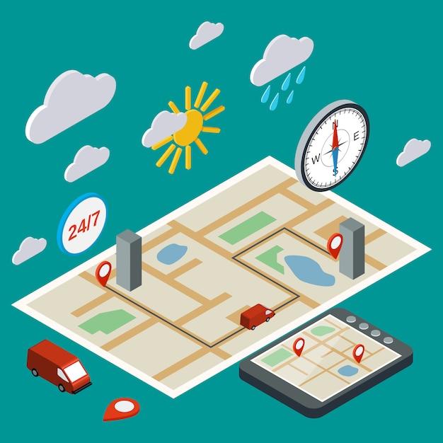 Mobiele navigatie, transport, logistieke vlakke 3d isometrische illustratie. modern web infographic concept Premium Vector