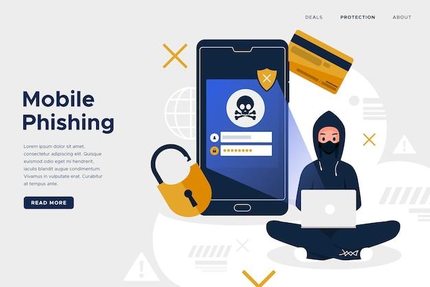 Mobiele phishing-bestemmingspagina Gratis Vector