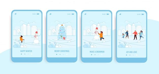 Mobiele schermen met trendy winterlandingspagina-set Premium Vector