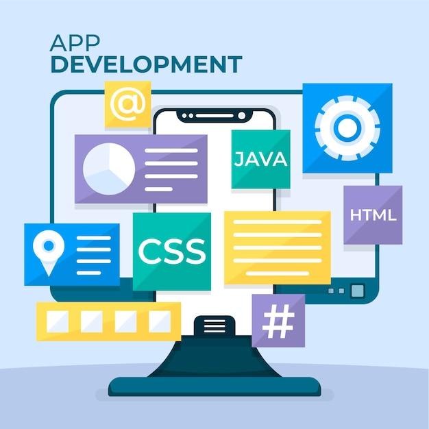 Mobiele sjabloon voor app-ontwikkeling Gratis Vector