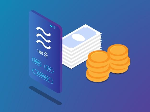 Mobiele smartphone met weegschaalmuntstuk in crypto valutatoepassing en de vectorillustratie van de geldstapel isometrische Premium Vector