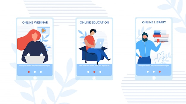 Mobiele sociale pagina's set advertising e-learning Premium Vector