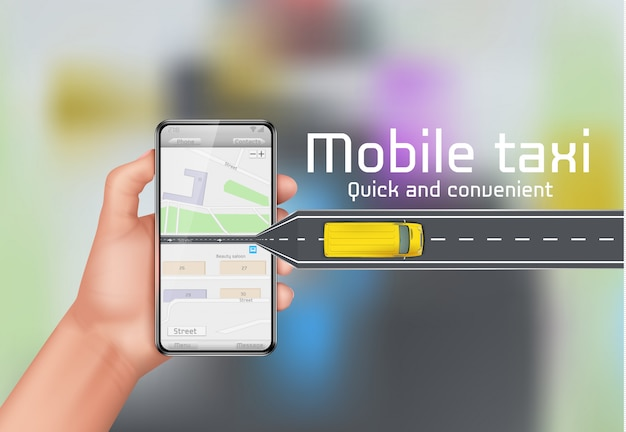 Mobiele taxi concept achtergrond. menselijke hand met smartphone met stadsplattegrond Gratis Vector