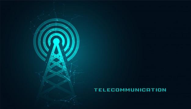 Mobiele telecommunicatidigital torenachtergrond Gratis Vector
