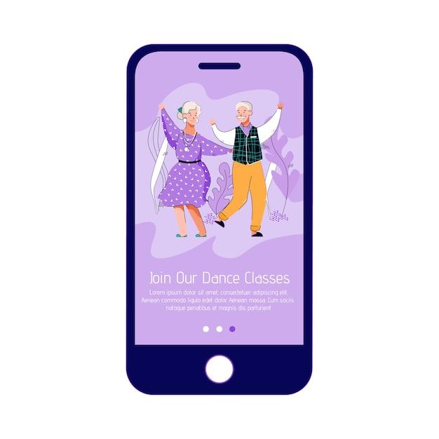 Mobiele telefoon app-interface voor danslessen van ouderen,. Premium Vector