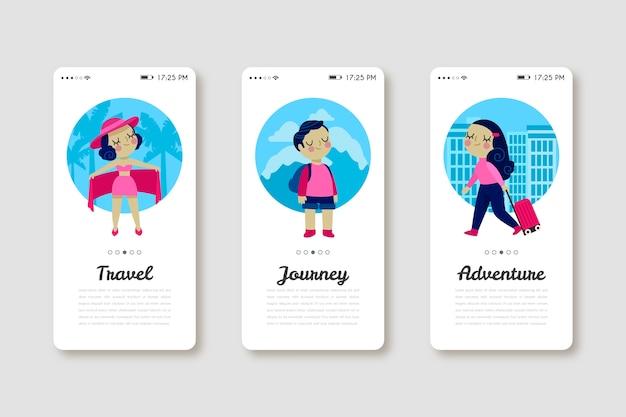 Mobiele telefoon-app voor op reis en ontdekking Gratis Vector
