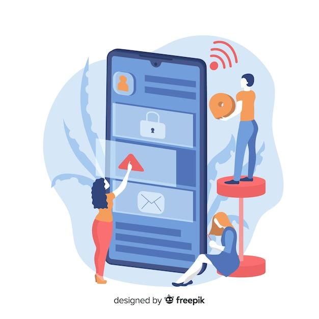 Mobiele telefoon apps concept voor bestemmingspagina's Gratis Vector