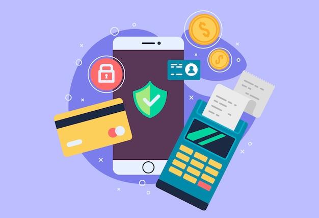 Mobiele telefoon betalingspictogram in vlakke stijl. de internetwinkel, online winkel, internet kopen en betalen. smartphone valuta ontwerpelementen. Premium Vector