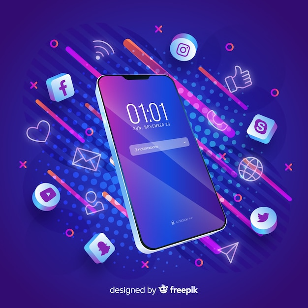 Mobiele telefoon met een donker thema, omringd door apps Gratis Vector