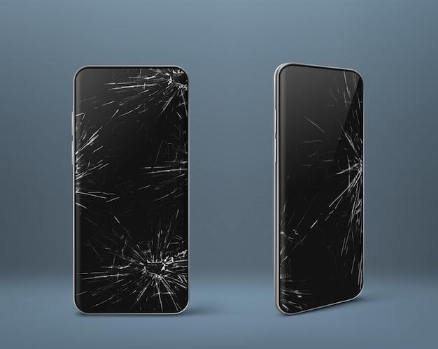 Mobiele telefoon met gebroken scherm ingesteld, gadgetapparaat Gratis Vector