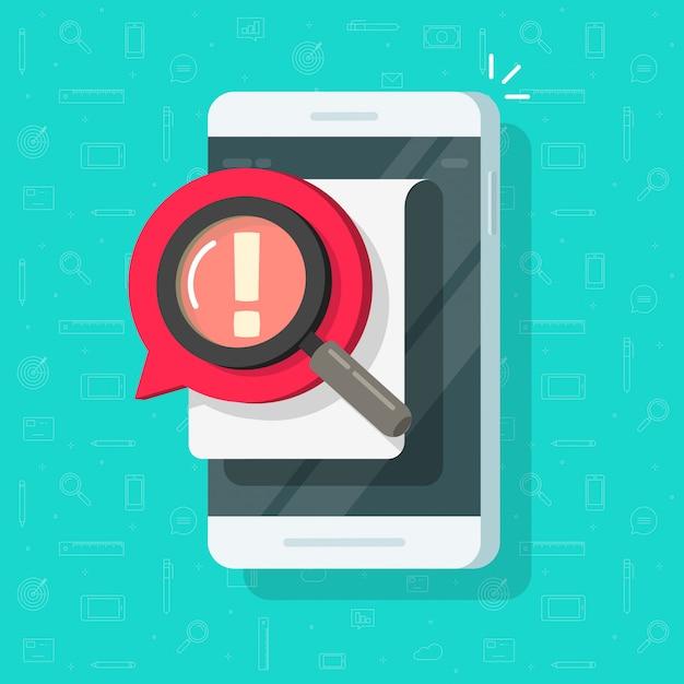 Mobiele telefoon met identificatie kennisgeving alert of mobiel risico document zoeken illustratie platte cartoon Premium Vector