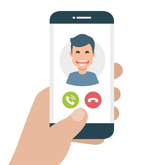 Mobiele telefoon met inkomende oproep Gratis Vector