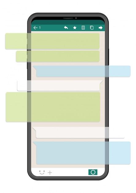 Mobiele telefoon met sns interface die op witte achtergrond, vectorillustratie wordt geïsoleerd. Premium Vector