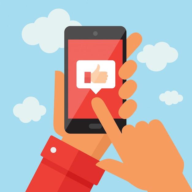 Mobiele telefoon met vergelijkbaar symbool Premium Vector