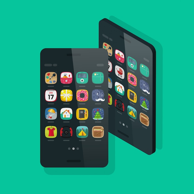 Mobiele telefoon of mobiele telefoon isometrisch en vooraanzicht met bureaubladpictogrammen op startscherm platte cartoon Premium Vector