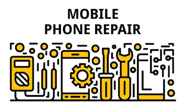 Mobiele telefoon reparatie banner, kaderstijl Premium Vector