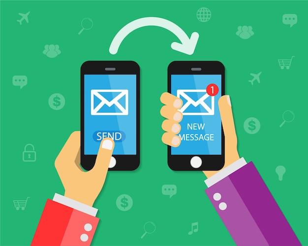 Mobiele telefoon verzend nieuw bericht Premium Vector