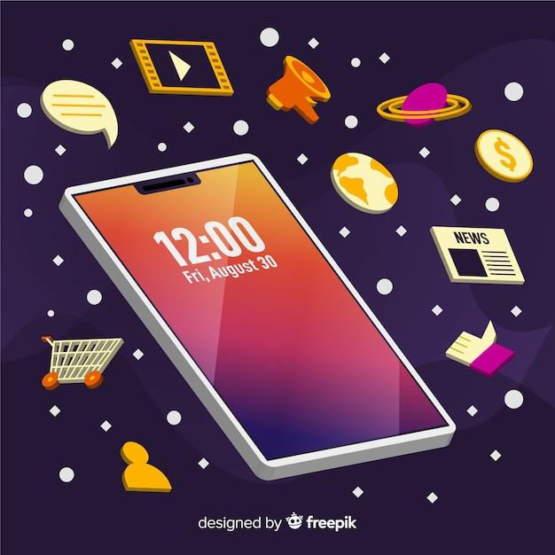 Mobiele telefoonillustratie met elementen Gratis Vector