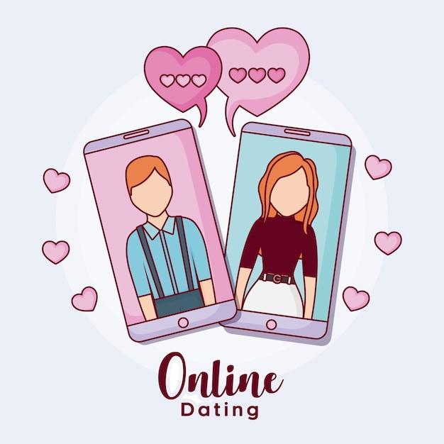 Mobiele telefoons met man en vrouw met harten rond Premium Vector