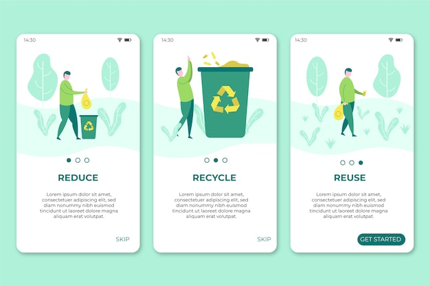 Mobiele telefoonschermen met recycle-app Gratis Vector