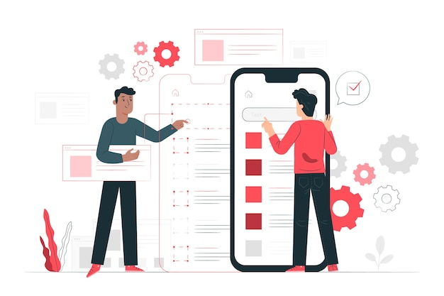 Mobiele testen concept illustratie Gratis Vector