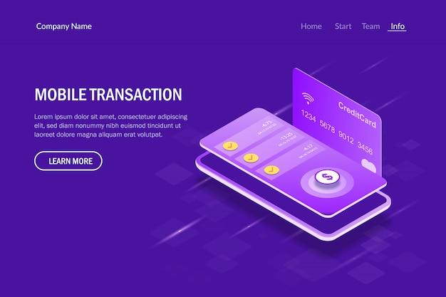 Mobiele transactie isometrische concept. betaling voor diensten via een mobiele telefoon. Premium Vector
