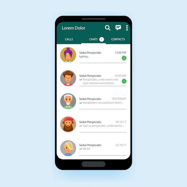 Mobiele ui-kit chat-app sjabloon messenger Premium Vector